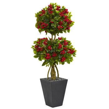 5 Double Bougainvillea Topiary Artificial Tree in Slate Planter - SKU #5763
