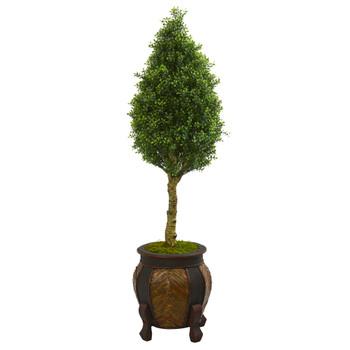 4.5 Boxwood Cone Artificial Tree in Decorative Planter - SKU #5764