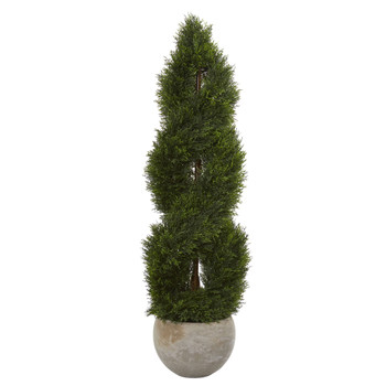 4 Double Pond Cypress Spiral Artificial Tree in Sand Colored Planter UV Resistant Indoor/Outdoor - SKU #5765