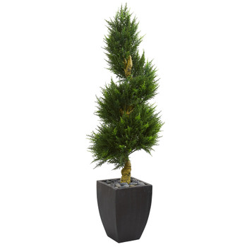 5.5 Cypress Spiral Artificial Tree in Black Wash Planter UV Resistant Indoor/Outdoor - SKU #5766