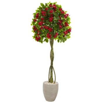 5.5 Bougainvillea Topiary Artificial Tree in Sand Colored Planter - SKU #5767