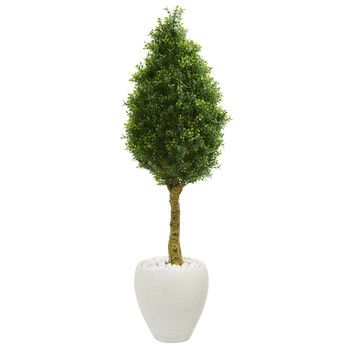 4.5 Boxwood Cone Topiary Artificial Tree in White Oval Planter UV Resistant Indoor/Outdoor - SKU #5768