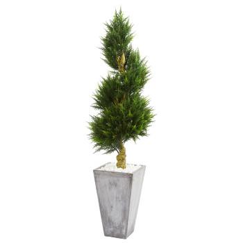 6 Cypress Spiral Artificial Tree in Cement Planter UV Resistant Indoor/Outdoor - SKU #5771