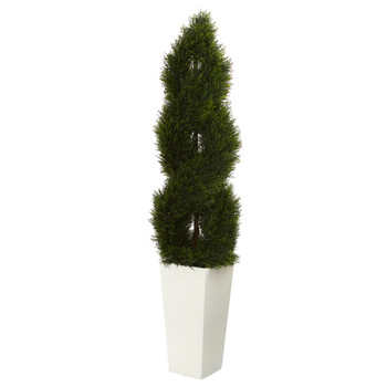 5.5 Double Cypress Spiral Topiary Artificial Tree in White Planter UV Resistant Indoor/Outdoor - SKU #5773