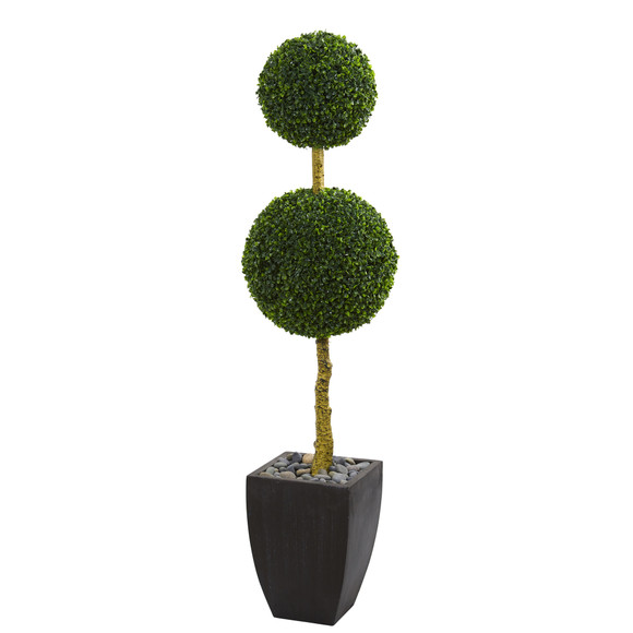 5 Double Ball Boxwood Topiary Artificial Tree in Black Wash Planter UV Resistant Indoor/Outdoor - SKU #5774