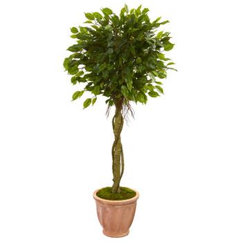 4.5 Ficus Artificial Tree in Terracotta Planter UV Resistant Indoor/Outdoor - SKU #5776