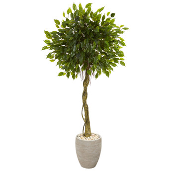 5.5 Ficus Artificial Tree in Oval Planter UV Resistant Indoor/Outdoor - SKU #5777