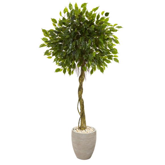 5.5 Ficus Artificial Tree in Oval Planter UV Resistant Indoor/Outdoor - SKU #5777