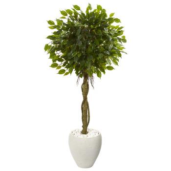 4.5 Ficus Artificial Tree in White Oval Planter UV Resistant Indoor/Outdoor - SKU #5779