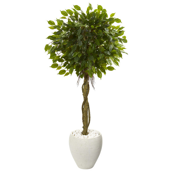4.5 Ficus Artificial Tree in White Oval Planter UV Resistant Indoor/Outdoor - SKU #5779