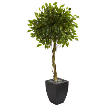 5.5 Ficus Artificial Tree in Black Wash Planter UV Resistant Indoor/Outdoor - SKU #5780