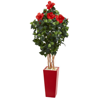 5.5 Hibiscus Artificial Tree in Red Tower Planter - SKU #5781