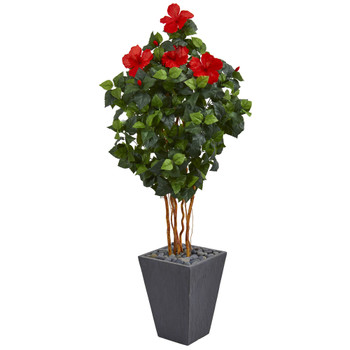 5 Hibiscus Artificial Tree in Slate Planter - SKU #5783