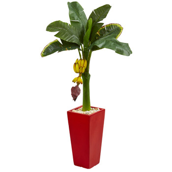 4 Banana Artificial Tree in Red Tower Planter - SKU #5785