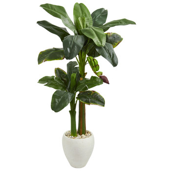5 Double Banana Artificial Tree in White Oval Planter - SKU #5786