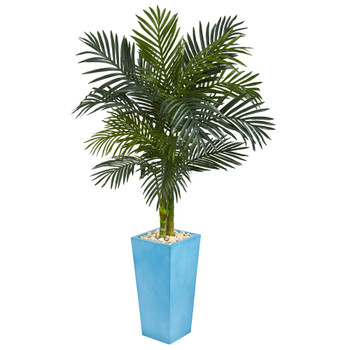 5 Golden Cane Palm Artificial Tree in Turquoise Tower Vase - SKU #5787
