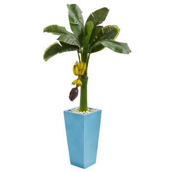 4 Banana Artificial Tree in Turquoise Tower Vase - SKU #5788