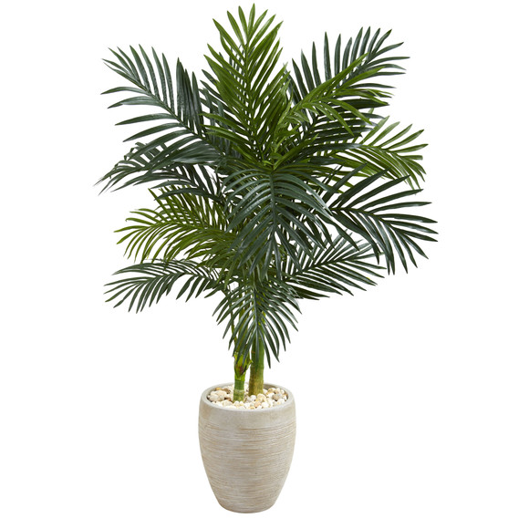 4.5 Golden Cane Palm Artificial Tree in Oval Planter - SKU #5789