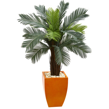 4.5 Cycas Artificial Tree in Orange Planter UV Resistant Indoor/Outdoor - SKU #5790