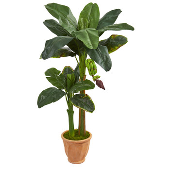 5 Double Stalk Banana Artificial Tree in Terracotta Planter - SKU #5791