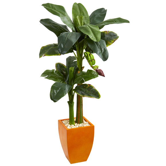 5.5 Double Stalk Banana Artificial Tree in Orange Planter - SKU #5794