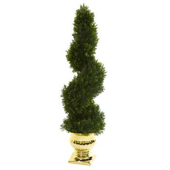 27 Cedar Spiral Artificial Topiary Tree in Gold Urn Indoor/Outdoor - SKU #5795