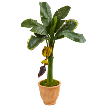 3 Banana Artificial Tree in Terracotta Planter - SKU #5796