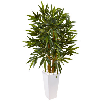 4 Bamboo Tree in White Tower Planter - SKU #5815