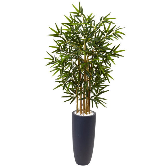4 Bamboo Tree in Gray Cylinder Planter - SKU #5819