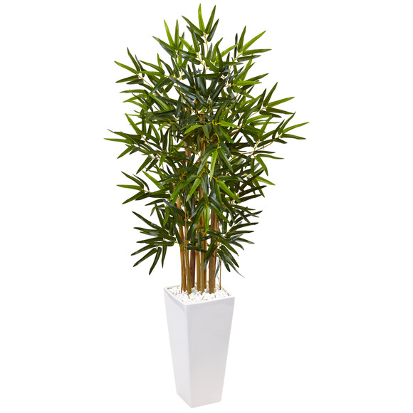 4 Bamboo Tree in White Tower Planter - SKU #5820