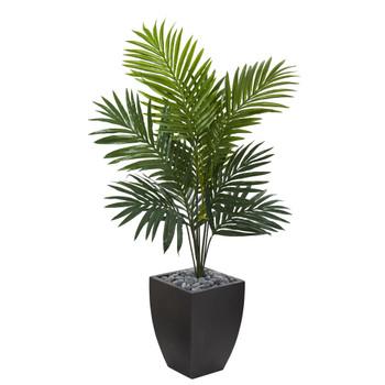 4.5 Kentia Palm Artificial Tree in Black Wash Planter - SKU #5821