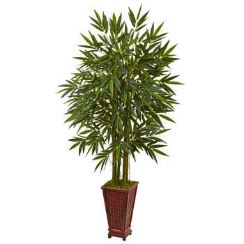 5.5 Bamboo Tree in Decorative Wood Planter - SKU #5822