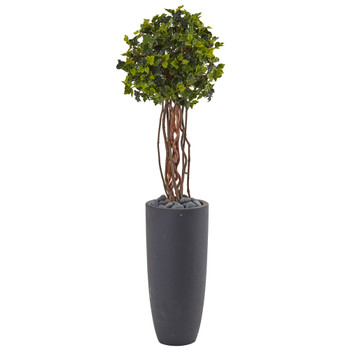 3.5 English Ivy Tree in Gray Cylinder Planter UV Resistant Indoor/Outdoor - SKU #5828