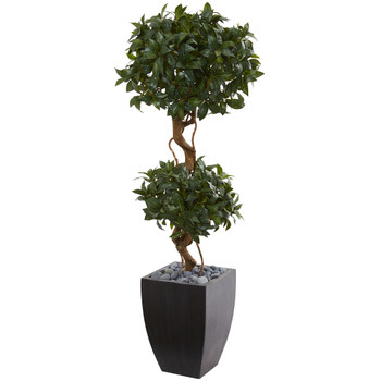 4.5 Sweet Bay Artificial Double Topiary Tree in Black Wash Planter - SKU #5829
