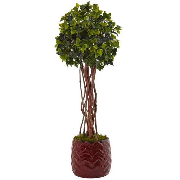 2.5 English Ivy Tree in Red Planter UV Resistant Indoor/Outdoor - SKU #5830