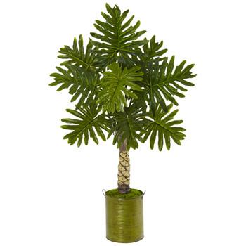 4.5 Monstera Tree in Green Metal Planter - SKU #5835