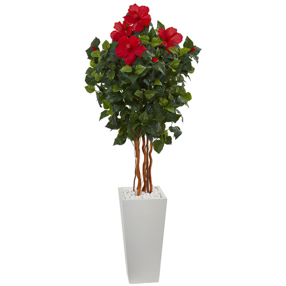 5 Hibiscus Artificial Tree in White Tower Planter - SKU #5836
