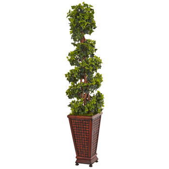 4.5 English Ivy Tree in Decorative Wood Planter - SKU #5839