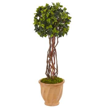 3 English Ivy Tree in Terracotta Planter UV Resistant Indoor/Outdoor - SKU #5848