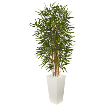 5.5 Bamboo Artificial Tree in White Tower Planter - SKU #5849