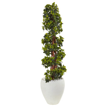 4 English Ivy Topiary Tree in White Oval Planter UV Resistant Indoor/Outdoor - SKU #5850
