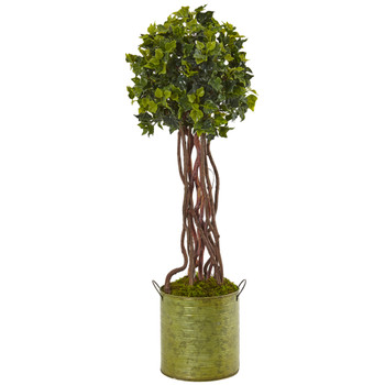 2.5 English Ivy Tree in Metal Planter UV Resistant Indoor/Outdoor - SKU #5851