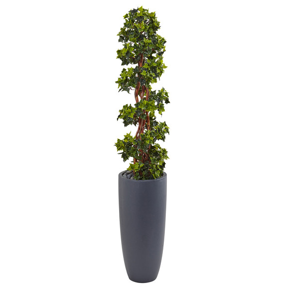 5 English Ivy Spiral Topiary Tree in Gray Cylinder Planter UV Resistant Indoor/Outdoor - SKU #5854