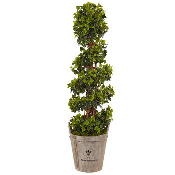 4 English Ivy Tree in Farmhouse Planter UV Resistant Indoor/Outdoor - SKU #5855