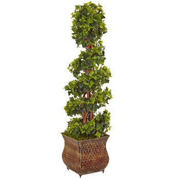 4 English Ivy Spiral Tree in Metal Planter UV Resistant Indoor/Outdoor - SKU #5856