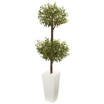 5.5 Olive Artificial Double Topiary Tree in White Tower Planter - SKU #5857