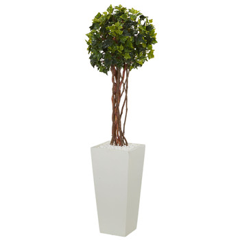 3 English Ivy Artificial Tree in White Tower Planter UV Resistant Indoor/Outdoor - SKU #5862