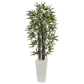5.5 Black Bamboo Artificial Tree in White Tower Planter - SKU #5864