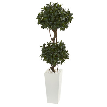 5 Sweet Bay Artificial Double Topiary in White Tower Planter - SKU #5865
