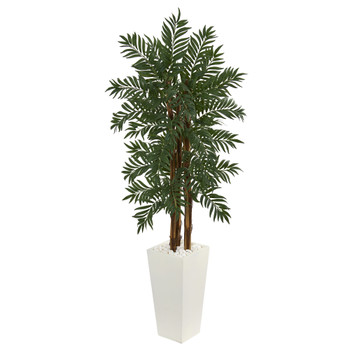 5.5 Parlor Palm Artificial Tree in White Tower Planter - SKU #5866